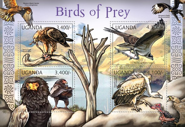 Birds of Prey, (Tawny Eagle, Rupell - Issue of Uganda postage stamps