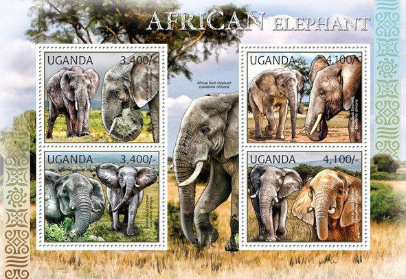 Elephants - Issue of Uganda postage stamps