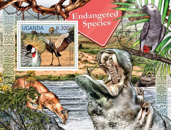 Endangered Species - Issue of Uganda postage stamps