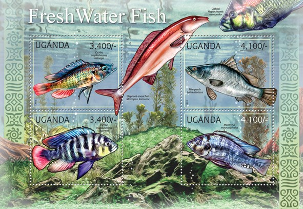 Fresh Water Fishes - Issue of Uganda postage stamps
