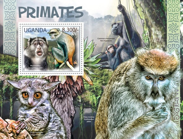 Primates - Issue of Uganda postage stamps