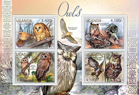 Owls  - Issue of Uganda postage stamps