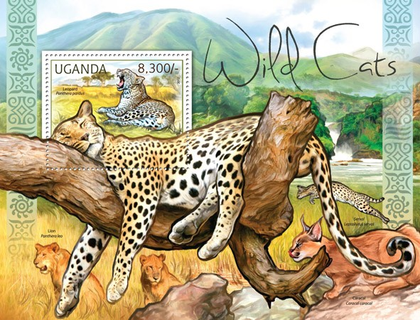 Wild Cats - Issue of Uganda postage stamps
