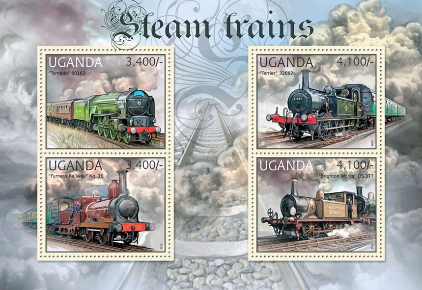 Steam Trains - Issue of Uganda postage stamps