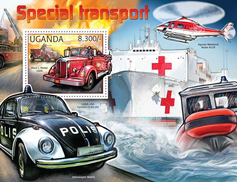 Special Transport - Issue of Uganda postage stamps