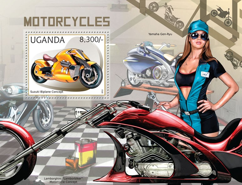 Motorcycles - Issue of Uganda postage stamps