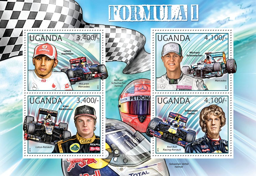 Formula 1 - Issue of Uganda postage stamps