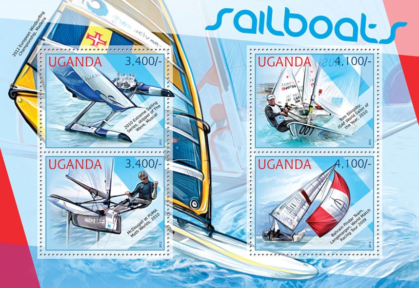 Sailboats - Issue of Uganda postage stamps