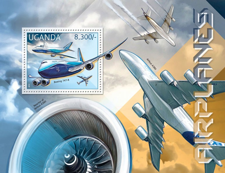 Airplanes - Issue of Uganda postage stamps
