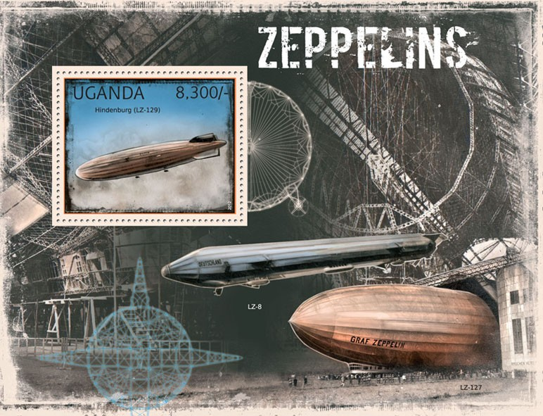 Zeppelins - Issue of Uganda postage stamps