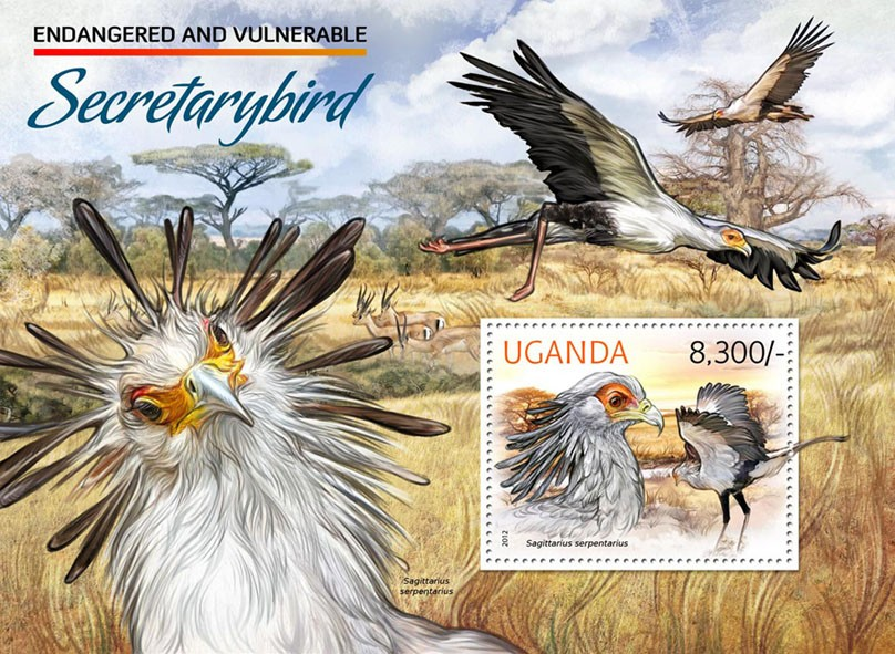Secretary bird - Issue of Uganda postage stamps