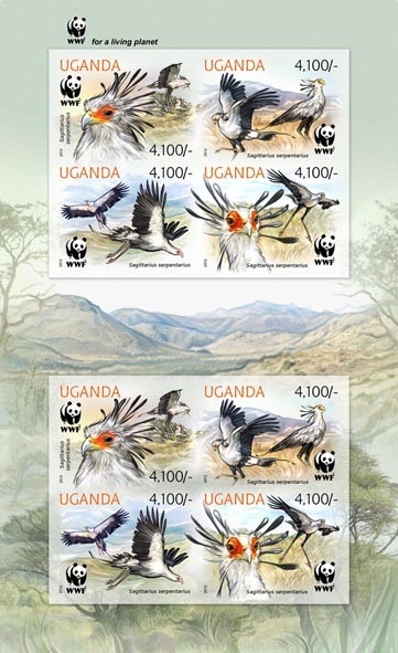 Secretary bird - WWF - Issue of Uganda postage stamps