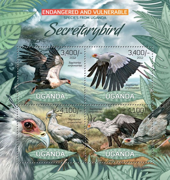 Secretary bird, (Segittarius serpentarius). - Issue of Uganda postage stamps