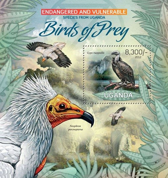 Birds of Prey - Issue of Uganda postage stamps