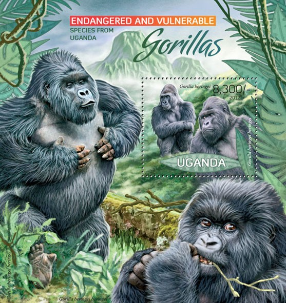 Gorillas - Issue of Uganda postage stamps