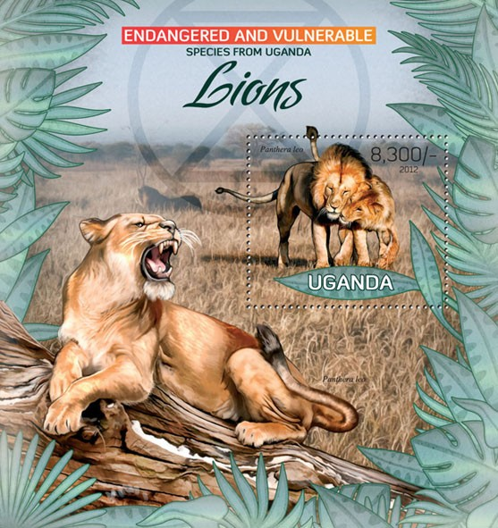 Lions I - Issue of Uganda postage stamps