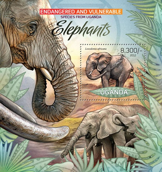 Elephants I - Issue of Uganda postage stamps