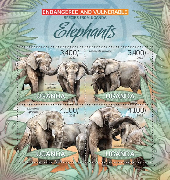 Elephants II - Issue of Uganda postage stamps