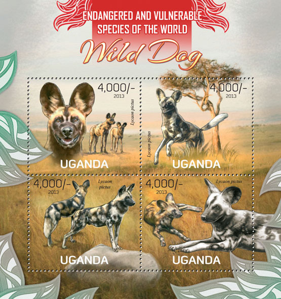 Wild dogs - Issue of Uganda postage stamps