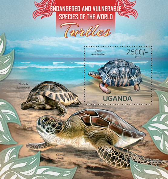 Turtles - Issue of Uganda postage stamps