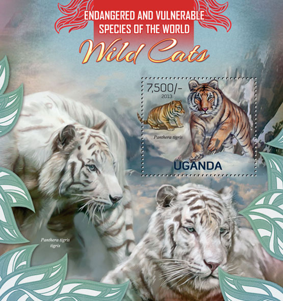 Wild cats, (Panthera tigris). - Issue of Uganda postage stamps
