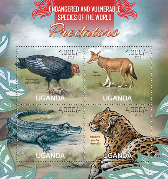 Predators - Issue of Uganda postage stamps