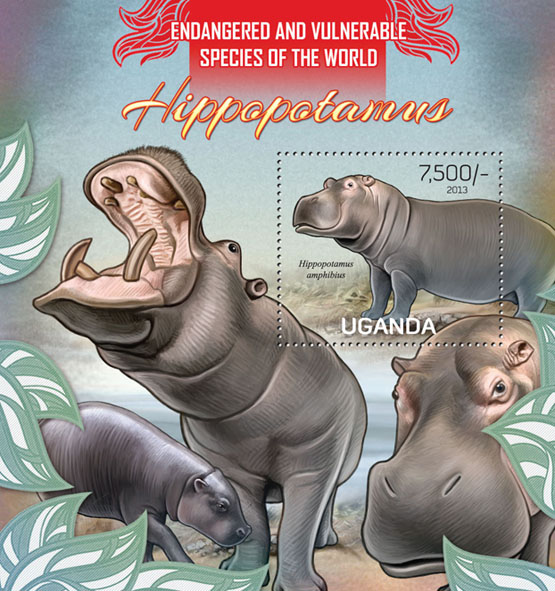 Hippopotamus - Issue of Uganda postage stamps