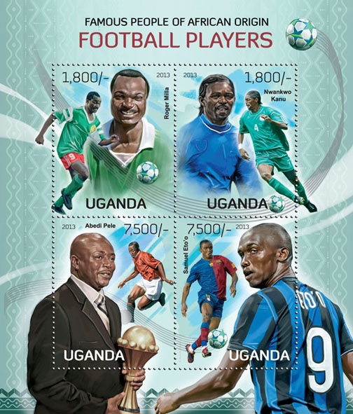 Football Players - Issue of Uganda postage stamps