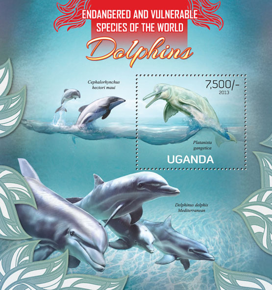 Dolphins - Issue of Uganda postage stamps
