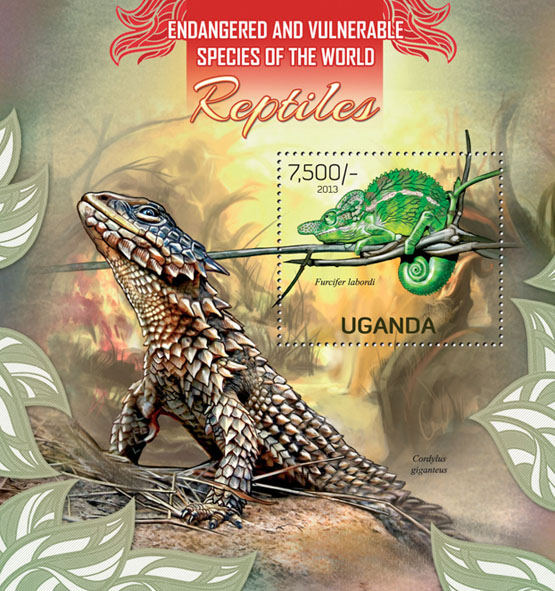 Reptiles - Issue of Uganda postage stamps