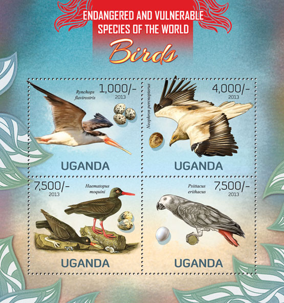 Birds - Issue of Uganda postage stamps