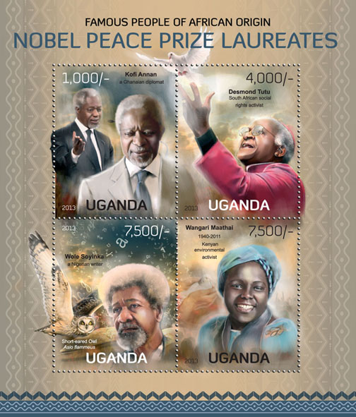 Nobel Peace - Issue of Uganda postage stamps