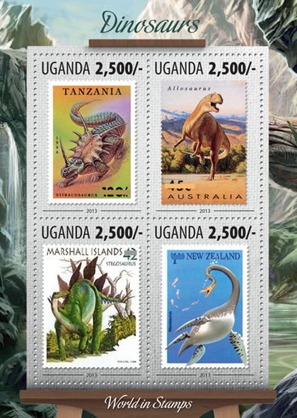 Dinosaurs - Issue of Uganda postage stamps