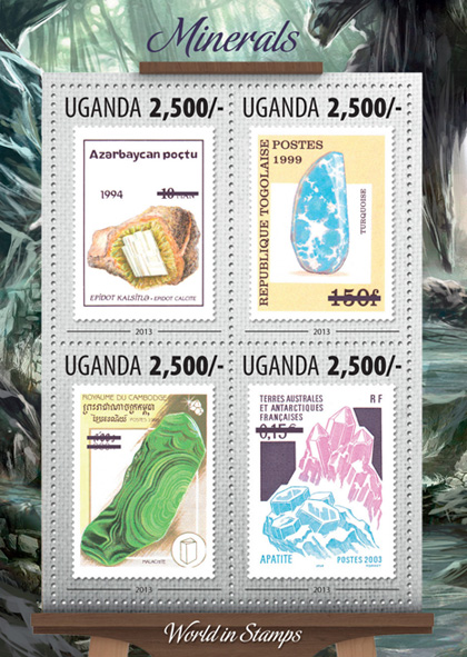 Minerals - Issue of Uganda postage stamps