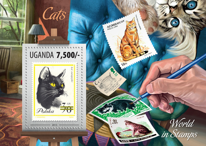 Cats - Issue of Uganda postage stamps