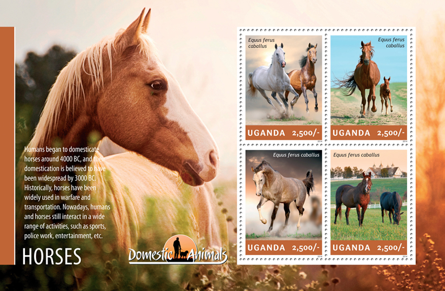 Horses - Issue of Uganda postage stamps