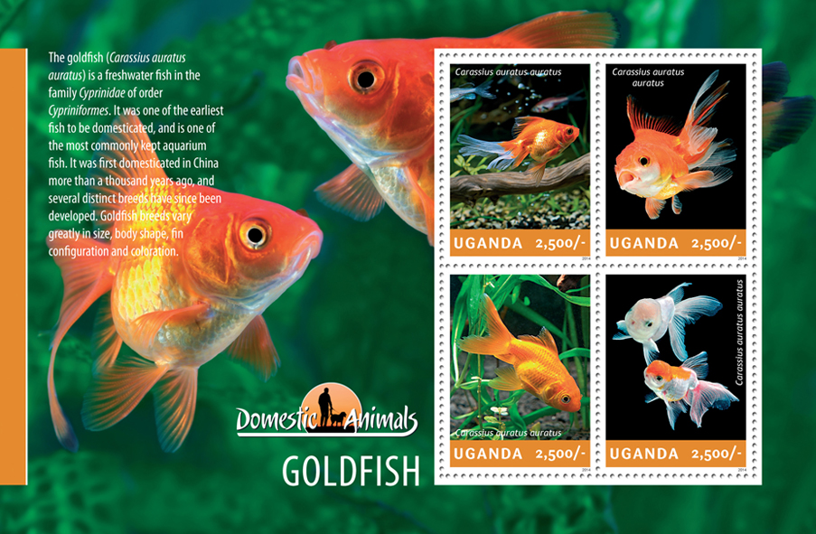 Goldfish - Issue of Uganda postage stamps