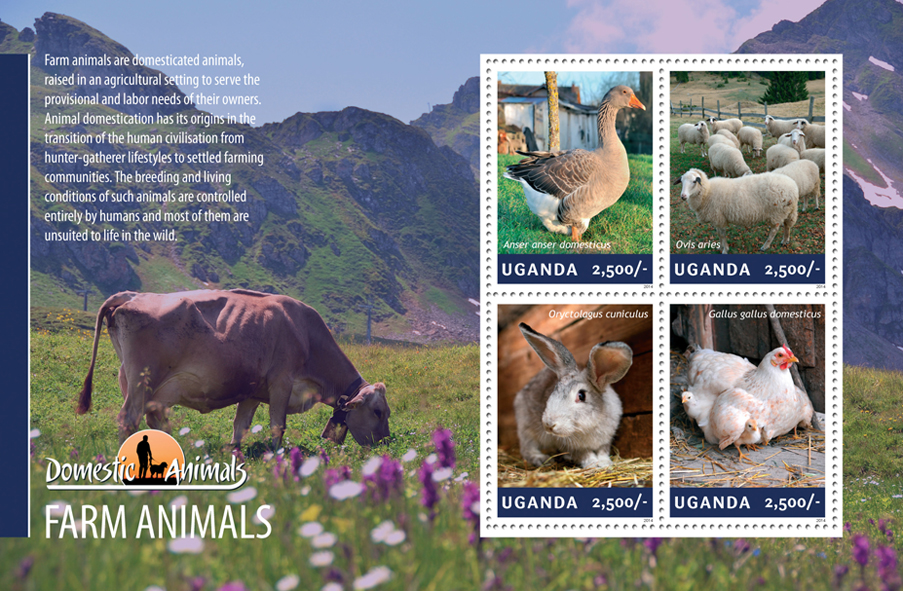 Farm animals - Issue of Uganda postage stamps