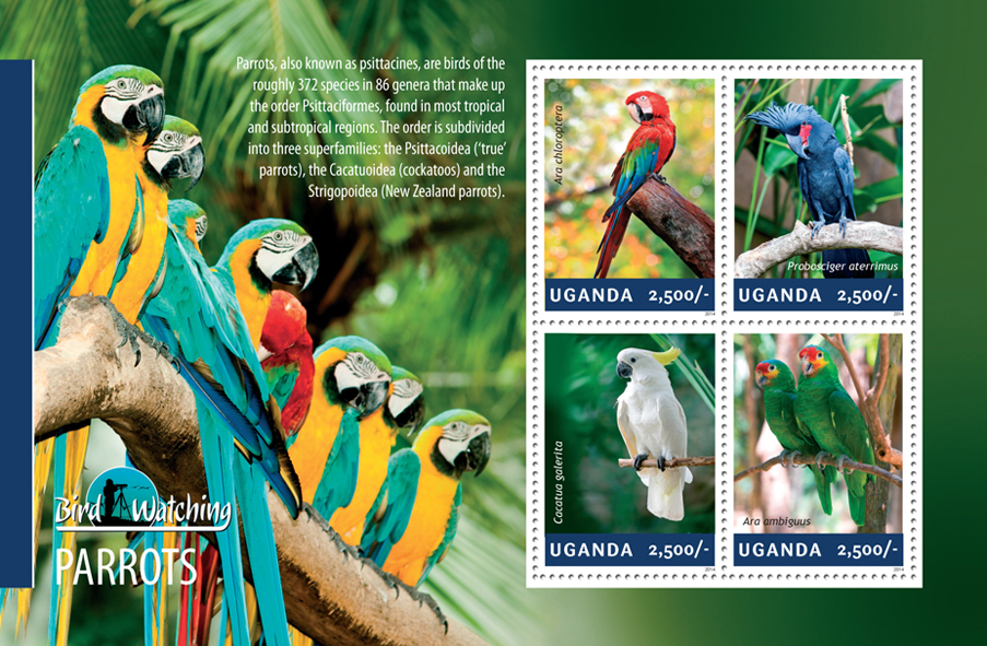 Parrots - Issue of Uganda postage stamps