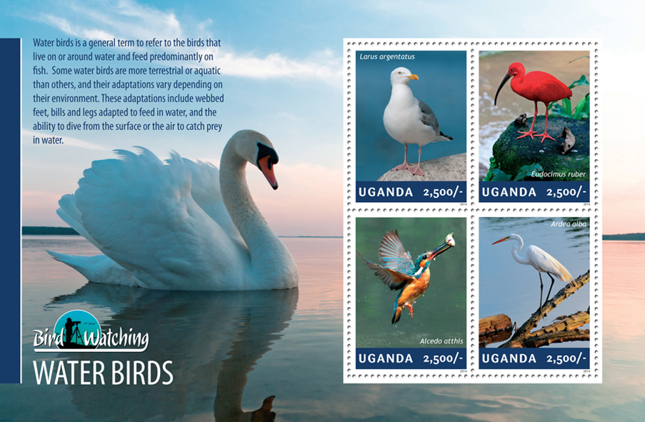 Water birds - Issue of Uganda postage stamps