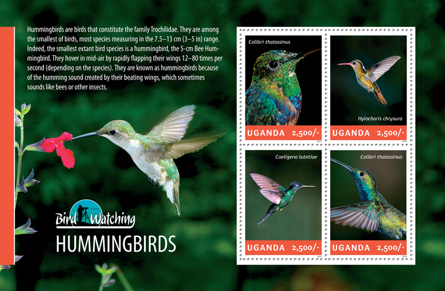 Hummingbirds - Issue of Uganda postage stamps