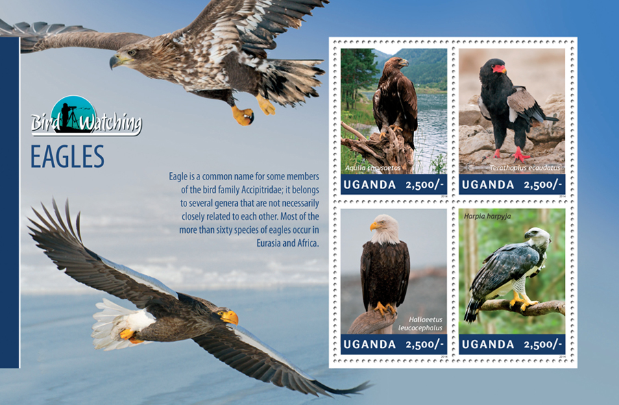 Eagles - Issue of Uganda postage stamps