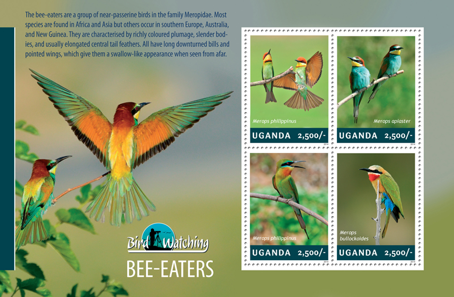 Bee - Eaters - Issue of Uganda postage stamps